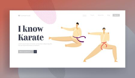 Combat Competition Sports Life Website Landing Page, Sportsmen Wearing Kimono and Belts Clash in Karate Air Kick, Characters Fighting and Practicing Web Page. Cartoon Flat Vector Illustration, Banner