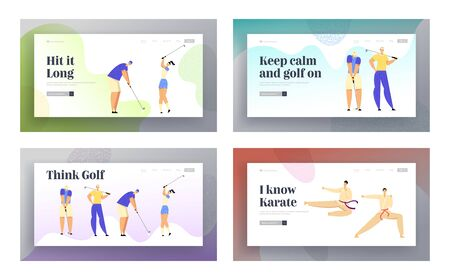 Karate Combat Competition, Golf Tournament Sports Life Website Landing Page Set, Sportsmen in Kimono Clash in Air Kick, People at Golfing Tournament Web Page. Cartoon Flat Vector Illustration, Banner Illusztráció