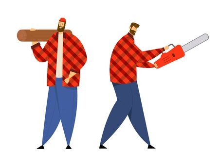 Couple of Lumberjack Male Characters in Plaid Shirts Holding Chainsaw and Wooden Log in Hands. Lumber Workers with Working Equipment and Tools Posing, Woodcutters. Cartoon Flat Vector Illustration Ilustrace