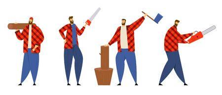 Set of Lumberjack Male Characters in Plaid Shirts Posing with Working Equipment and Tools, Woodcutters Holding Chainsaw, Axe, Saw and Wooden Log. Lumber Workers. Cartoon Flat Vector Illustration