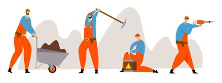 Set of Miner Characters, Coal or Minerals Mining, Workers in Uniform with Jackhammer, Wheelbarrow, Pickaxe and Dynamite at Work. Extraction Industry Profession Working Cartoon Flat Vector Illustration