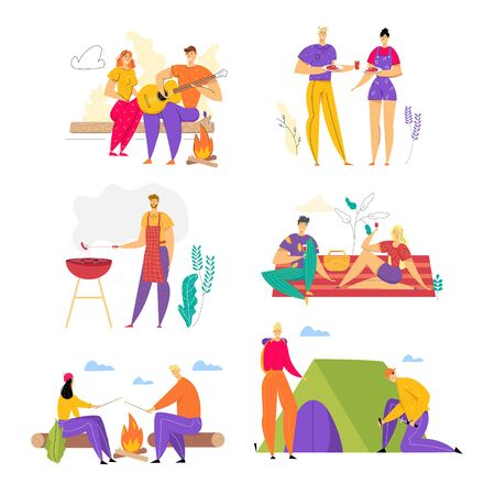 Set of Happy Loving Couples Spend Time Together Outdoors, Men and Woman Having Fun in Camping, Barbeque, People Enjoying Summer Outdoor Activity on Nature in Camp. Cartoon Flat Vector Illustration Illustration