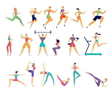 Sport Activities Set. Male and Female Sportsmen Characters Workout. Yoga, Marathon Running, Fitness, Bodybuilding, Gymnastics Exercises, People Training in Gym, Health Cartoon Flat Vector Illustration