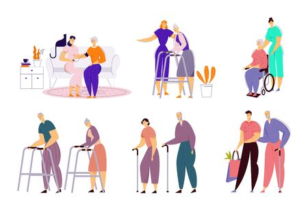 Help Old Disabled People in Nursing Home. Social Worker Community Care of Sick Seniors on Wheelchair, Skilled Nurse Residential Healthcare, Physical Therapy Service. Cartoon Flat Vector Illustration Иллюстрация