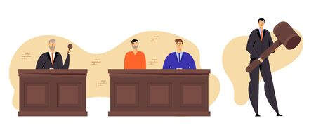 Grey Haired Judge Wearing Black Gown Hold Gavel. Accused Man in Prison Robe Sitting with Attorney Lawyer in Court, Tribunal and Justice Concept, Judgement System. Cartoon Flat Vector Illustration Standard-Bild - 129762630