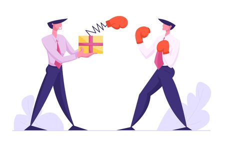 Unfair Fight, Businessman Fighting with Man Hold Box with Pop Up Boxing Glove on Spring, Manager Characters Combat, Business People Competition, Challenge, Leadership, Cartoon Flat Vector Illustration Ilustracja