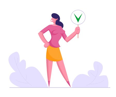 Businesswoman Hold Sign with Green Check Mark, Yes Symbol, Girl Agreed with Social Opinion, Voting, Election, Politics Decision, Public Relations Concept, Woman Choice Cartoon Flat Vector Illustration