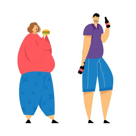 Human Addiction, Overweight Woman with Big Belly Eating Burger, Man Drinking Beer, Obesity, Alcoholism Health Problems, Dependence, Addict of Food and Alcohol Drinks. Cartoon Flat Vector Illustration
