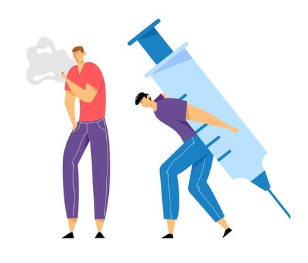Human Addiction, Male Characters with Bad Habits, Man Smoking, Drug Addict Carry Huge Syringe on Back, Substance and Cigarettes Dependence or Addict, Health Problems. Cartoon Flat Vector Illustration