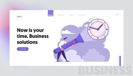 Deadline, Time, Searching Idea, Schedule Website Landing Page, Business Man Holding Huge Flashlight Lighting Up Watch on Wall, Uncovering Hidden Clock Web Page. Cartoon Flat Vector Illustration Banner