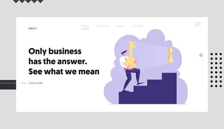 Solving Problem Website Landing Page, Businessman Carry Heavy Gold Key Upstairs to Unlock Keyhole. Leadership, Career Growth, Business Task Solution Web Page. Cartoon Flat Vector Illustration, Banner 스톡 콘텐츠 - 129762648