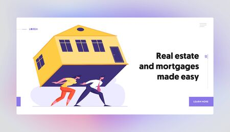 Expensive Rent, Overwhelming Mortgage Website Landing Page, Couple Carry Huge House on Back Struggling with Banking Credit for Real Estate Purchase, Web Page. Cartoon Flat Vector Illustration, Banner