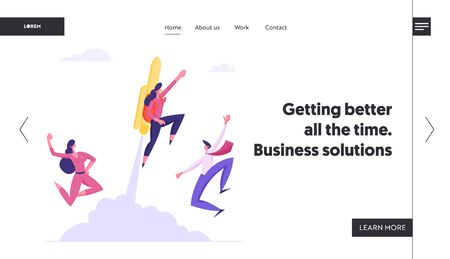 Great Start, Career Boost, Fast Business Growth Website Landing Page, Cheerful Colleagues See Off Businessman Flying Off with Jet Pack on Back. Web Page. Cartoon Flat Vector Illustration, Banner