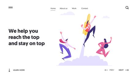 Fast Business Growth Website Landing Page, Happy Colleagues See Off Businesswoman Flying Off with Jet Pack. Great Start, Career Boost, Office Worker Web Page. Cartoon Flat Vector Illustration, Banner