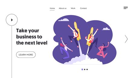 Leadership, Success. Website Landing Page, Happy Business Workers See Off Colleagues Flying Off with Jet Pack. Man and Woman Fly Up, Career Boost Web Page. Cartoon Flat Vector Illustration, Banner