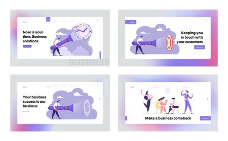 Deadline, Time, Searching Idea, Schedule Business Arm Wrestling Website Landing Page Set, Uncovering Hidden Items, Businesspeople Fighting on Hands Web Page. Cartoon Flat Vector Illustration, Banner Illustration