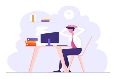 Overloaded Stressed Male Office Employee Character Sitting at Workplace with Computer and Huge Heap of Documents Holding Head of Deadline and Paper Bureaucracy to do, Cartoon Flat Vector Illustration
