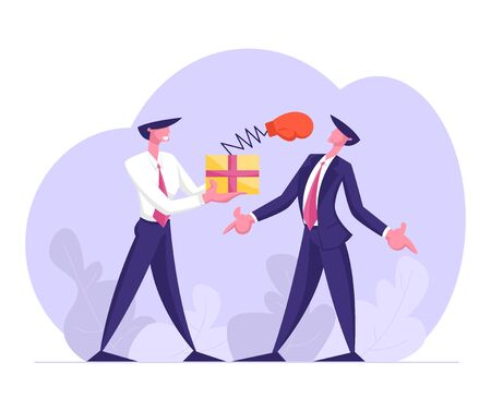 Business Man Hold Box with Pop Up Boxing Glove on Spring Punch Opponent to Face, Unfair Fight, Businesspeople Fighting, Competition, Challenge, Leadership, Dirty Trick Cartoon Flat Vector Illustration
