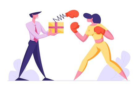 Business People Boxing. Woman Fighting with Man Holding Box with Pop Up Glove on Spring, Manager Characters Business Competition, Challenge, Leadership, Unfair Fight. Cartoon Flat Vector Illustration