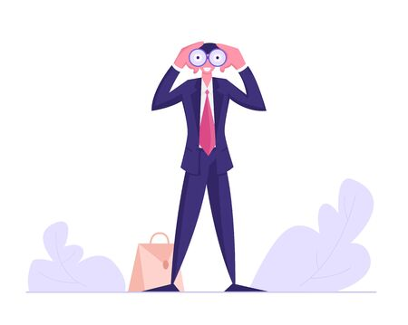 Businessman Watching to Binoculars, Business Vision, Recruitment Employee, Male Business Character Visionary Forecast, Prediction, Success Planning for Future Strategy Cartoon Flat Vector Illustration
