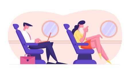 Young Business Man Sitting in Comfortable Airplane Seat and Working on Laptop, Woman Drinking Beverage. Passengers in Plane, Airline Transportation Service, Travel. Cartoon Flat Vector Illustration