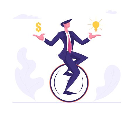 Business Man Wearing Formal Suit Riding Monowheel with Dollar and Light Bulb in Hands. Businessman Character Racing in Leadership Competition. Finance Creative Idea Cartoon Flat Vector Illustration Stockfoto - 129762668