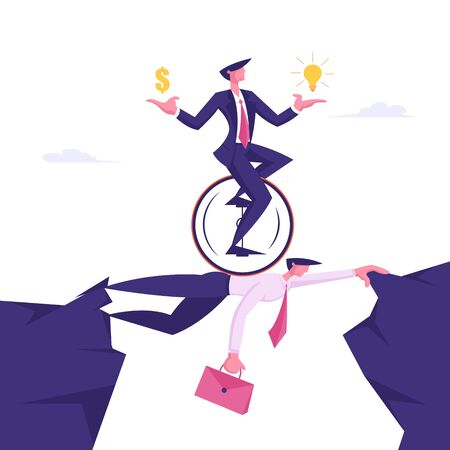 Business Man on Monowheel with Dollar and Light Bulb in Hands Riding over Head of Businessman Colleague. Creative Idea, Challenge, New Opportunity Success Concept Cartoon Flat Vector Illustration Illustration