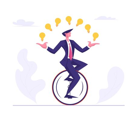 Business Man Wearing Formal Suit Riding Monowheel Juggling with Glowing Light Bulbs. Businessman Character Racing in Leadership Competition. Finance Creative Idea Cartoon Flat Vector Illustration Иллюстрация