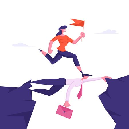 Business Woman Overcome Abyss by Back of Businessman Like Bridge. Businesswoman Careerist Walk on Head of Colleague. Race, Stop at Nothing Strongest Will Survive. Cartoon Flat Vector Illustration 일러스트