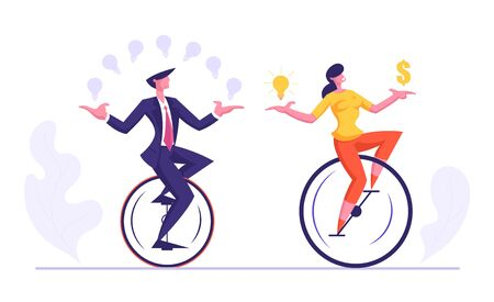 Business Man and Woman Riding Monowheel Juggling with Glowing Light Bulbs, Holding Dollar Sign. Businesspeople Racing in Leadership Competition. Finance Creative Idea Cartoon Flat Vector Illustration