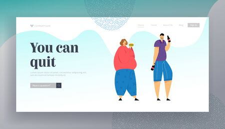 Addict of Food and Alcohol Drinks Website Landing Page, Addiction, Overweight Woman Eating Burger, Man Drinking Beer, Obesity, Alcoholism Dependence, Web Page. Cartoon Flat Vector Illustration, Banner Иллюстрация