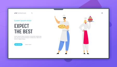 Restaurant Staff Demonstrating Menu Website Landing Page, Chef Holding Pizza, Woman Sous Chef with Cake, Serve Guests in Cafe, Pizzeria, Bakery Shop. Web Page. Cartoon Flat Vector Illustration, Banner