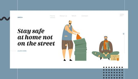 Homeless People Website Landing Page, Characters Begging Money and Need Help, on Street, Man in Ragged Clothes Lost Work, Bagger Warming at Fire Web Page. Cartoon Flat Vector Illustration, Banner