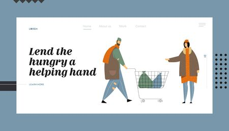 Homeless Poor People, Bums Begging Money and Need Help Website Landing Page, Beggars in Ragged Clothing Pick Up Garbage on Street to Shopping Cart, Web Page. Cartoon Flat Vector Illustration, Banner