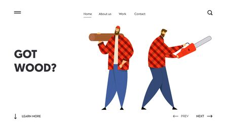 Lumber Workers with Working Equipment and Tools Website Landing Page, Couple of Lumberjack Holding Chainsaw and Wooden Log in Hands. Woodcutters Web Page. Cartoon Flat Vector Illustration, Banner