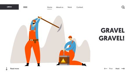 Miners Characters at Work Website Landing Page. Workers in Uniform with Pickaxe and Dynamite Mining Coal or Minerals, Extraction Industry Occupation Web Page. Cartoon Flat Vector Illustration, Banner 向量圖像