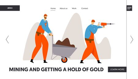 Coal or Minerals Mining Website Landing Page, Workers with Jackhammer and Wheelbarrow with Soil. Miners at Work. Extraction Industry Profession Work Web Page. Cartoon Flat Vector Illustration, Banner