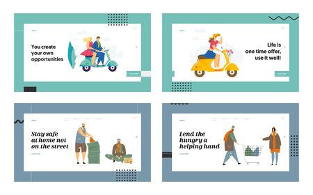 People Riding Scooter, Homeless Characters Website Landing Page Set. Men and Women Begging Money and Need Help on Street, Couple Traveling on Bike Web Page Banner. Cartoon Flat Vector Illustration Ilustração
