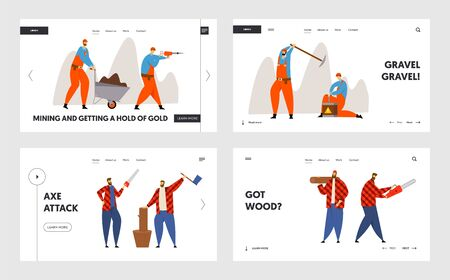 Woodcutters and Miners Occupation Job Website Landing Page Set. Lumberjacks Working with Axe and Saw, Workers with Pickaxe and Dynamite Mining Coal Web Page Banner. Cartoon Flat Vector Illustration