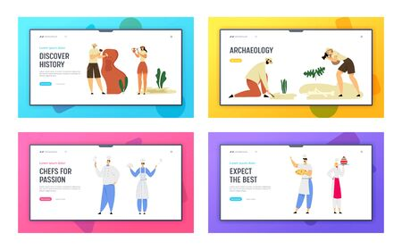 Restaurant Staff Hospitality and Archeologists Paleontology Workers Website Landing Page Set. Chef in Cafe, Scientists Work Excavations of Dinosaurs Web Page Banner. Cartoon Flat Vector Illustration Иллюстрация