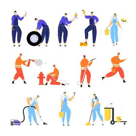 Ensemble d'ouvriers de réparation de voitures avec des outils pour la réparation d'automobiles, les pompiers éteignent le feu avec un extincteur et des employés de l'entreprise d'eau et de nettoyage avec des instruments Illustration vectorielle plane de dessin animé