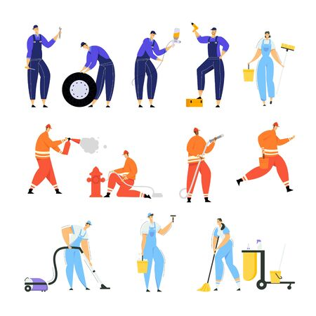 Set of Car Repair Workers with Tools for Automobiles Fixing, Firefighters Put Out Fire with Extinguisher and Water and Cleaning Company Employees with Instruments Cartoon Flat Vector Illustration
