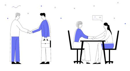 Partnership Concept with Businesspeople Meeting, Shaking Hands, Making Agreement during Negotiation. Business Partners Men and Women Handshaking. Cartoon Flat Vector Illustration, Line Art Style Illustration