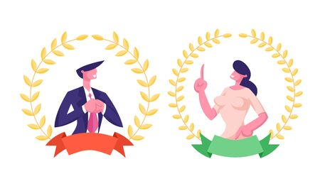 Best Worker Employee Concept. Business Man and Woman Managers Inside of Golden Award Gold Wreath with Ribbon Winning Trophy. Most Great Results, Success. Business Cartoon Flat Vector Illustration