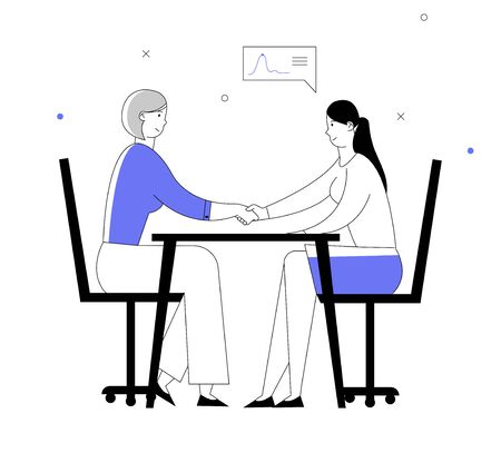 Business Partners Women Handshaking Sitting at Table Face to Face. Partnership Concept of Businesspeople Meeting, Shaking Hands Agreement Negotiation. Cartoon Flat Vector Illustration Line Art Style Illustration