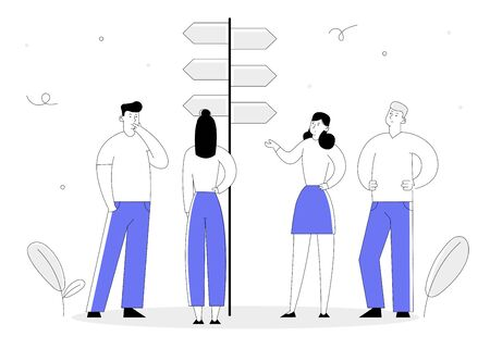 Choice Way Concept with Business People Stand at Road Pointer with Hard and Easy Directions, Making Decision what Path to Choose. Crossroad, Challenge Cartoon Flat Vector Illustration Line Art Style 向量圖像