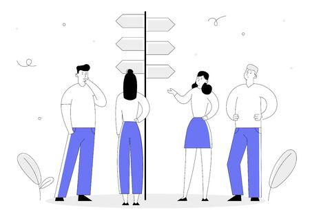 Wahlweise Konzept mit Geschäftsleuten stehen am Straßenzeiger mit harten und einfachen Wegbeschreibungen und treffen die Entscheidung, welchen Weg sie wählen sollen. Kreuzung, Herausforderung Cartoon-flache Vektor-Illustration-Linie-Kunst-Stil