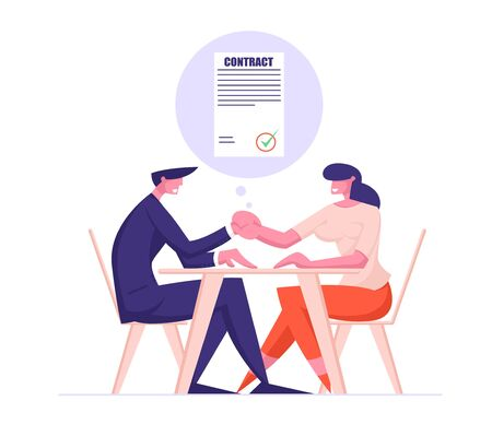 Business Partners Man and Woman Sitting at Table Handshaking after Signing Contract. Partnership of Businesspeople Meeting, Shaking Hands Agreement. Cartoon Flat Vector Illustration Line Art Style