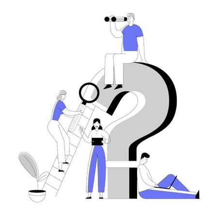 Business People around Huge Question Mark Searching Information with Magnifying Glass Laptop Tablet and Binoculars. Frequently Asked Questions Concept Cartoon Flat Vector Illustration, Line Art Style