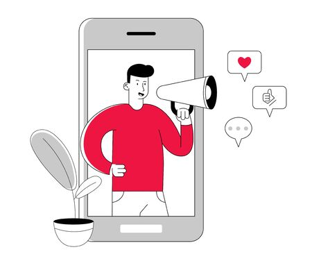 Blogging and Social Media Networking Concept. Man Blogger Character with Megaphone in Hands Stand at Smartphone Screen Broadcasting Streaming Video Post, Announcement Cartoon Flat Vector Illustration